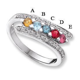 14k Mother's Day Ring with 5 Genuine Birthstones and Diamond Accents Mother's Rings deBebians