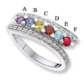 14kt Mother's Day Ring with 6 Genuine Birthstones and Diamond Accents Mother's Rings deBebians