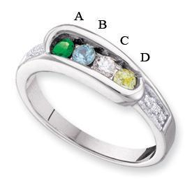 14kt Gold Birthstone Mother's Ring Engravable with Four Birthstones Mother's Rings deBebians