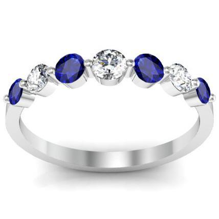 Floating Diamond and Sapphire Seven Stone Band Diamond Wedding Rings deBebians