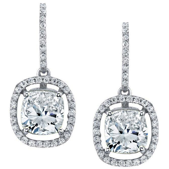 Floating Diamond Halo Drop Earrings