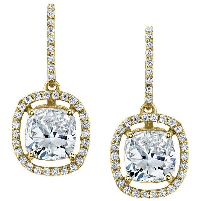 Floating Diamond Halo Drop Earrings Diamond Halo Earrings deBebians