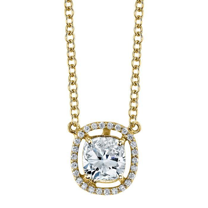 Floating Diamond Halo Pendant Diamond Necklaces deBebians