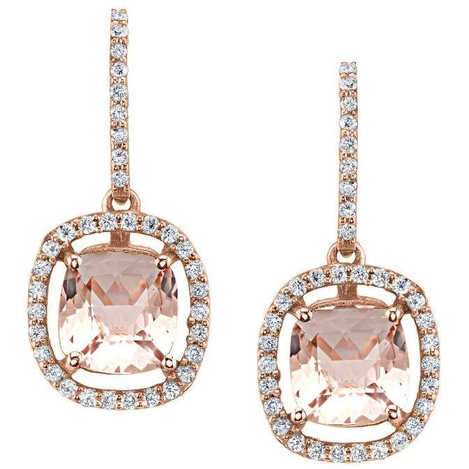 Floating Morganite Halo Earrings