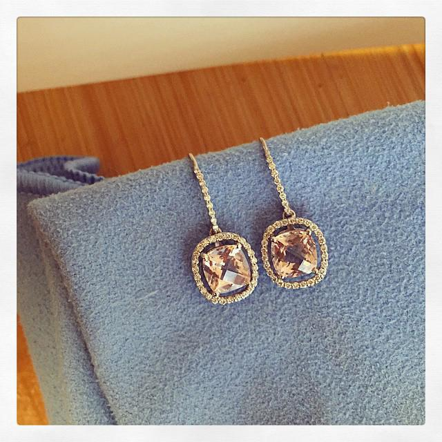 Floating Morganite Halo Earrings Diamond Halo Earrings deBebians