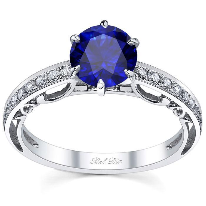 Floral Accented Pave Engagement Ring with Blue Sapphire