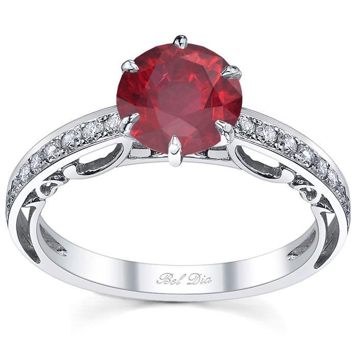 Floral Accented Pave Engagement Ring with Ruby Ruby Engagement Rings deBebians