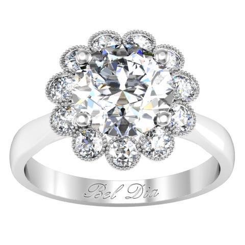 Floral Milgrain Halo Engagement Ring Halo Engagement Rings deBebians