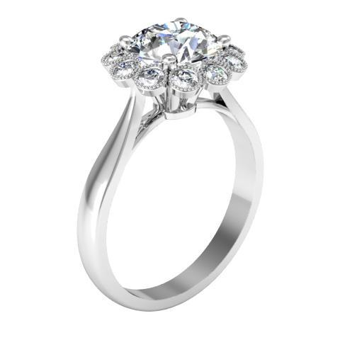 Floral Milgrain Halo Engagement Ring
