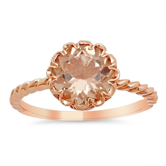 Floral Morganite Solitaire Engagement Ring Rose Gold & Morganite Engagement Rings deBebians