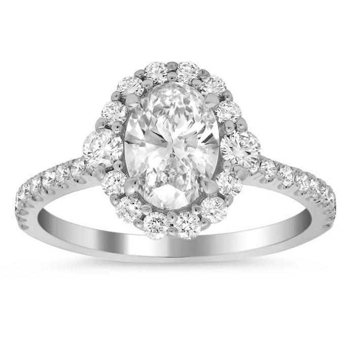 Floral Three Stone Halo Engagement Ring