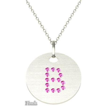 Gold Birthstone Initial Pendant Necklace Necklaces deBebians 14k White Gold Pink Sapphire Flush