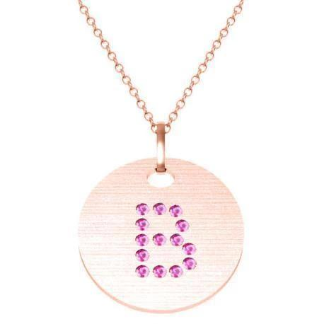 Gold Birthstone Initial Pendant Necklace Necklaces deBebians 14k Rose Gold Pink Sapphire Flush