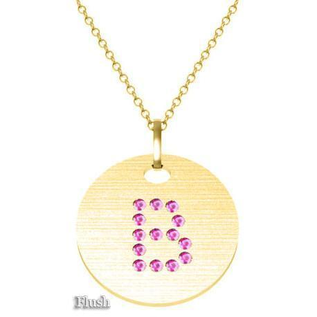 Gold Birthstone Initial Pendant Necklace Necklaces deBebians 14k Yellow Gold Pink Sapphire Flush