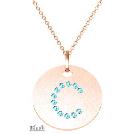 Gold Birthstone Initial Pendant Necklace Necklaces deBebians 14k Rose Gold Aquamarine Flush