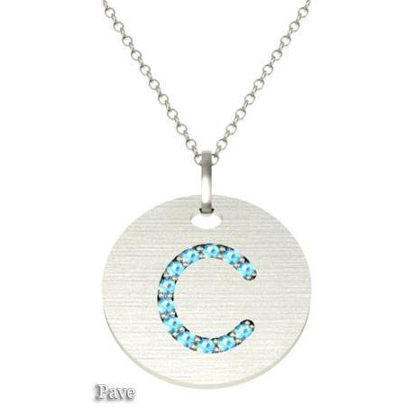 Gold Birthstone Initial Pendant Necklace Necklaces deBebians 14k White Gold Aquamarine Pave
