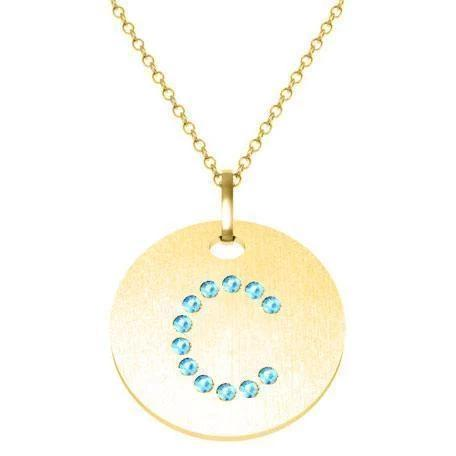 Gold Birthstone Initial Pendant Necklace Necklaces deBebians 14k Yellow Gold Aquamarine Flush