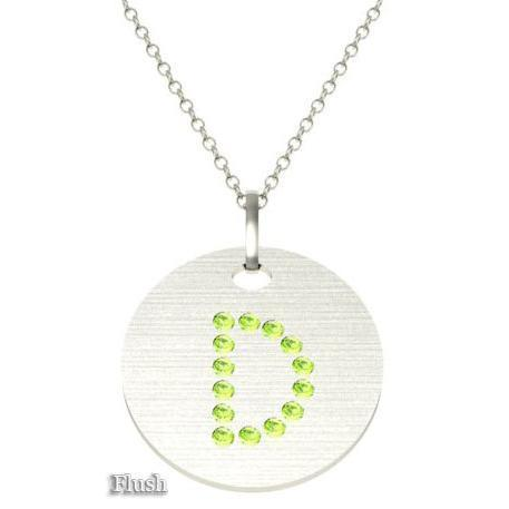 Gold Birthstone Initial Pendant Necklace Necklaces deBebians 14k White Gold Peridot Flush