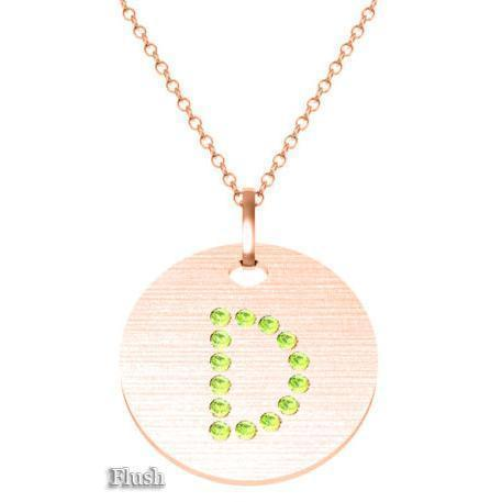 Gold Birthstone Initial Pendant Necklace Necklaces deBebians 14k Rose Gold Peridot Flush