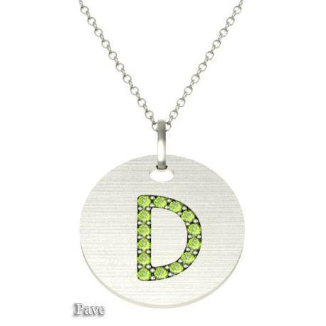Gold Birthstone Initial Pendant Necklace Necklaces deBebians 14k White Gold Peridot Pave
