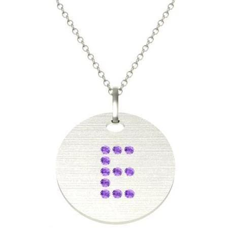 Gold Birthstone Initial Pendant Necklace Necklaces deBebians 14k White Gold Amethyst Flush