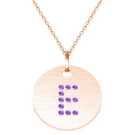 Gold Birthstone Initial Pendant Necklace Necklaces deBebians 14k Rose Gold Amethyst Flush