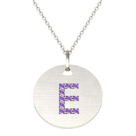 Gold Birthstone Initial Pendant Necklace Necklaces deBebians 14k White Gold Amethyst Pave