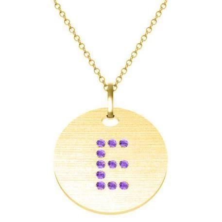 Gold Birthstone Initial Pendant Necklace Necklaces deBebians 14k Yellow Gold Amethyst Flush
