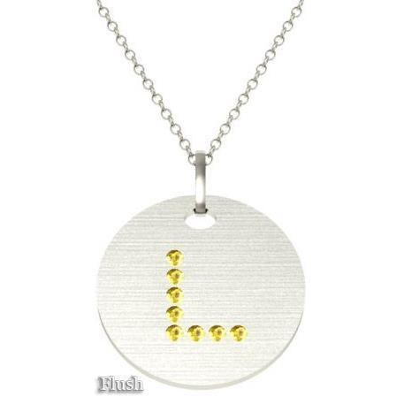 Gold Birthstone Initial Pendant Necklace Necklaces deBebians 14k White Gold Yellow Sapphire Flush