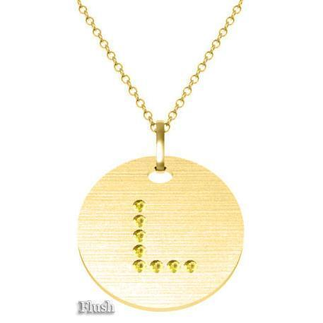 Gold Birthstone Initial Pendant Necklace Necklaces deBebians 14k Yellow Gold Yellow Sapphire Flush