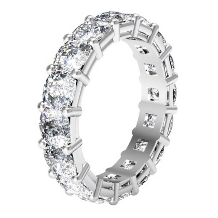 Forever One Cushion Moissanite Eternity Ring Moissanite Wedding Rings deBebians