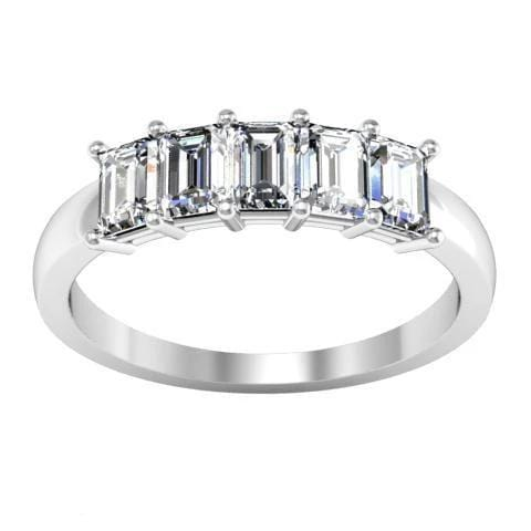 Forever One Emerald Cut Moissanite Five Stone Ring Moissanite Wedding Rings deBebians