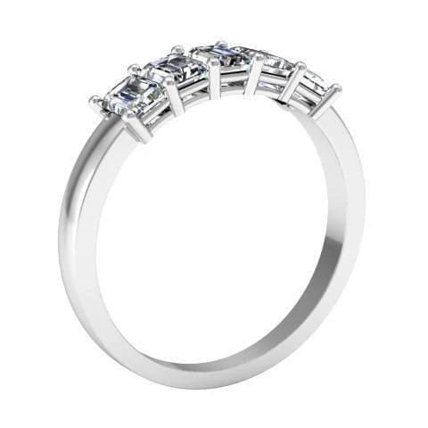 ad6fe4720c610 Forever One Emerald Cut Moissanite Five Stone Ring