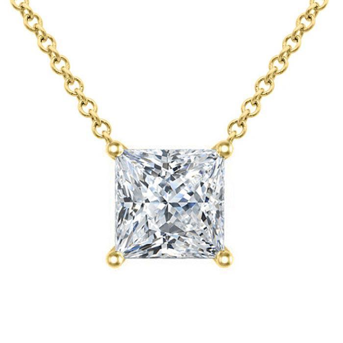 Moissanite Floating Princess Cut Solitaire Pendant Necklace Moissanite Necklaces deBebians