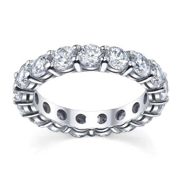 Forever One Moissanite 4mm Round Eternity Ring Moissanite Wedding Rings deBebians
