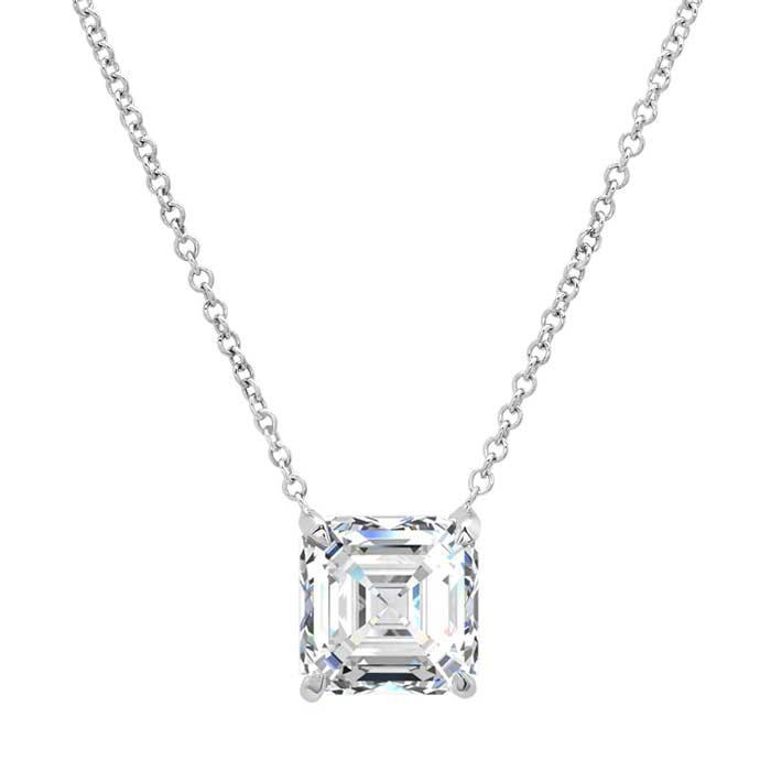 Forever One Moissanite Asscher Solitaire Pendant Moissanite Necklaces deBebians