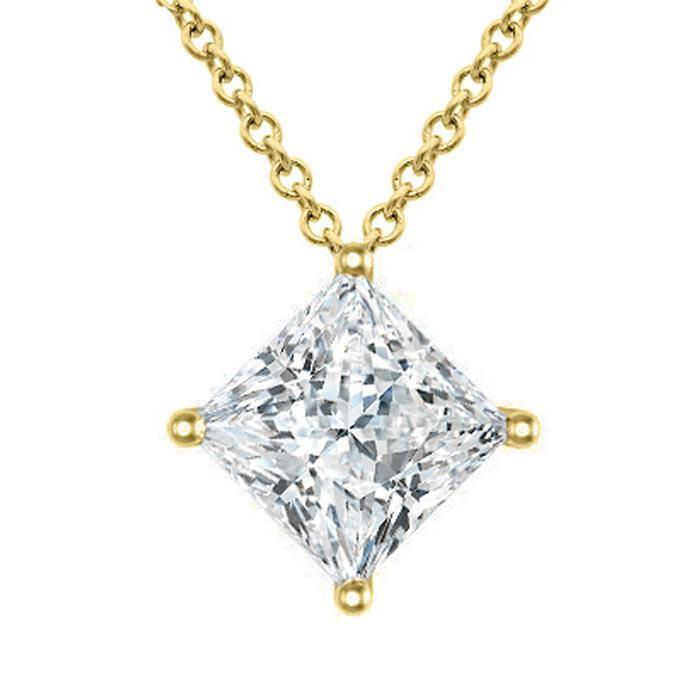 Moissanite Floating Princess Cut Solitaire Kite Set Pendant Necklace Moissanite Necklaces deBebians