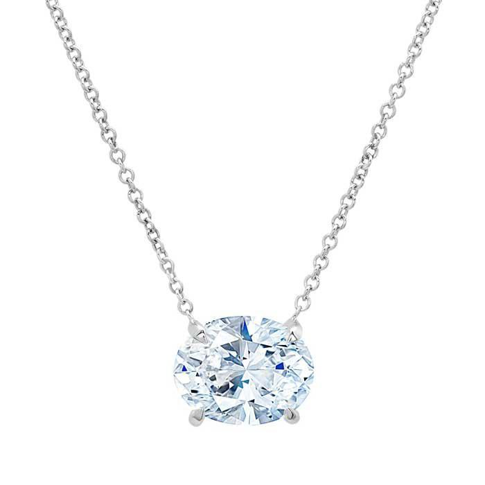 Forever One Oval Moissanite Necklace for Women Moissanite Necklaces deBebians