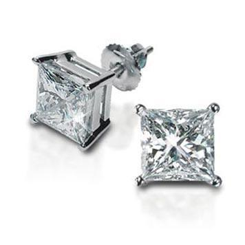 Forever One Moissanite Princess Cut Earrings
