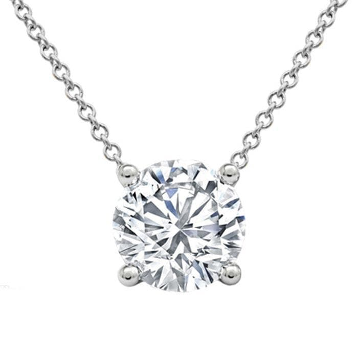 Forever One Floating Round Solitaire Pendant Moissanite Necklaces deBebians