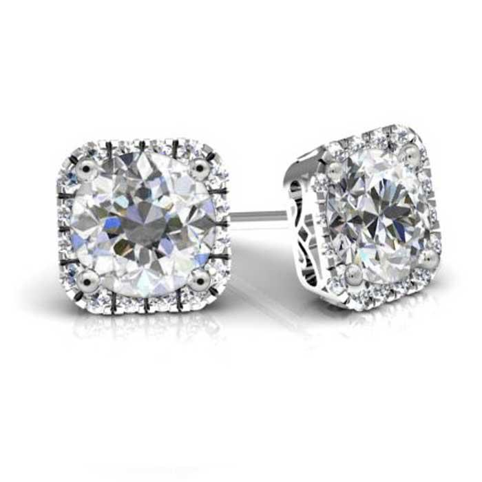 Forever One Round Moissanite Cushion Halo Earrings Moissanite Earrings deBebians