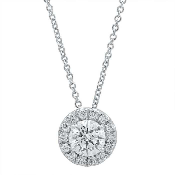 Forever One Round Moissanite Halo Necklace Moissanite Necklaces deBebians