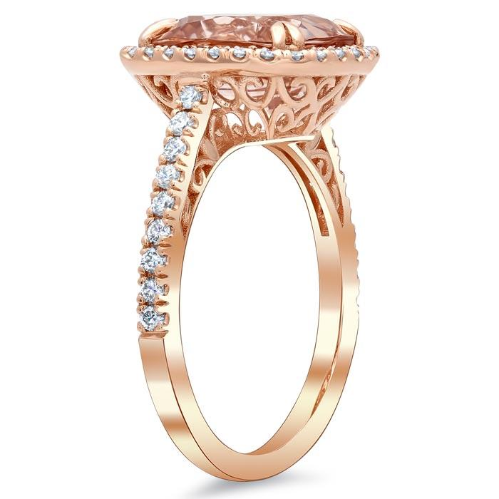 Morganite Rose Gold Halo Engagement Ring with Floral Basket Rose Gold & Morganite Engagement Rings deBebians