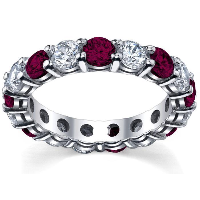 Garnet and Diamond Anniversary Band Gemstone Eternity Rings deBebians