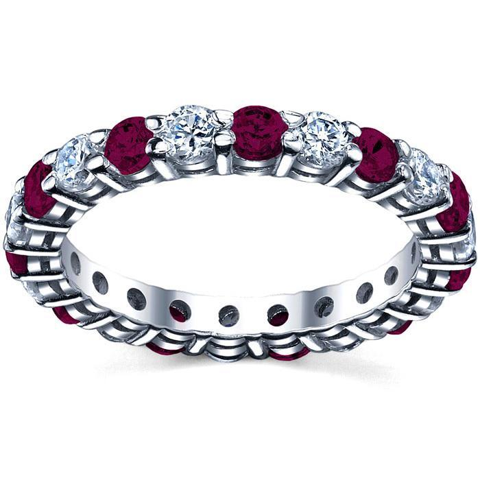 Garnet and Diamond Birthstone Eternity Band Gemstone Eternity Rings deBebians