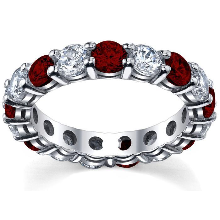 Garnet and Diamond Birthstone Ring Gemstone Eternity Rings deBebians