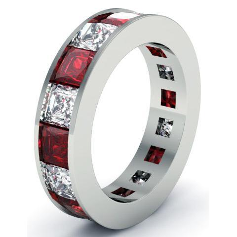 Garnet and Diamond Eternity Anniversary Band Gemstone Eternity Rings deBebians