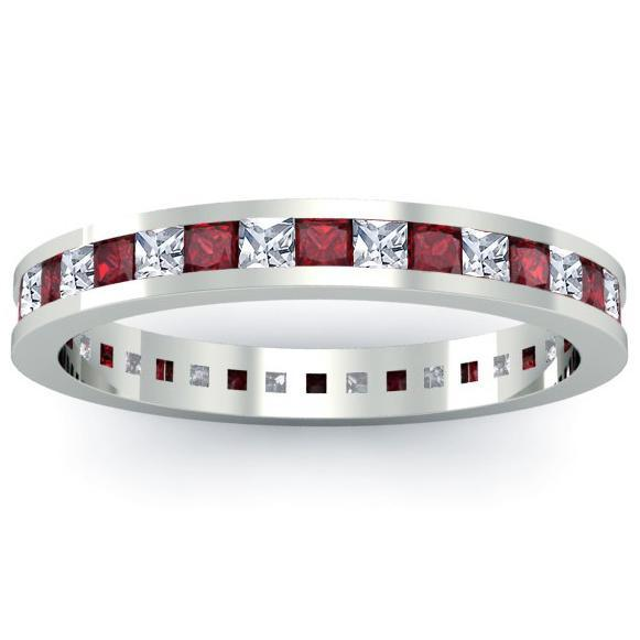 Garnet and Diamond Eternity Ring Gemstone Eternity Rings deBebians