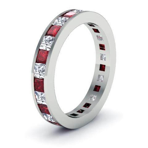 Garnet and Diamond Eternity Wedding Ring Gemstone Eternity Rings deBebians