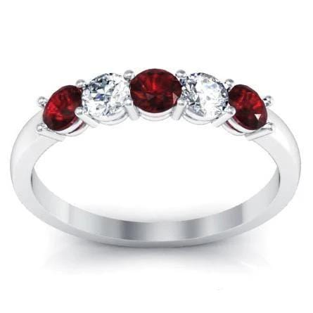 0.50cttw Shared Prong Garnet and Diamond Five Stone Ring Five Stone Rings deBebians